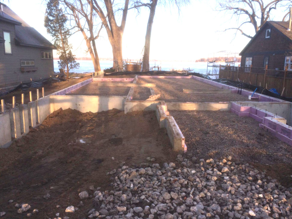 Backfilled foundation after de-watering