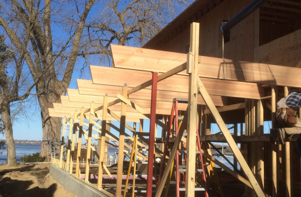 Douglas Fir timbers to support the roof and is a beautiful post and beam scenario.