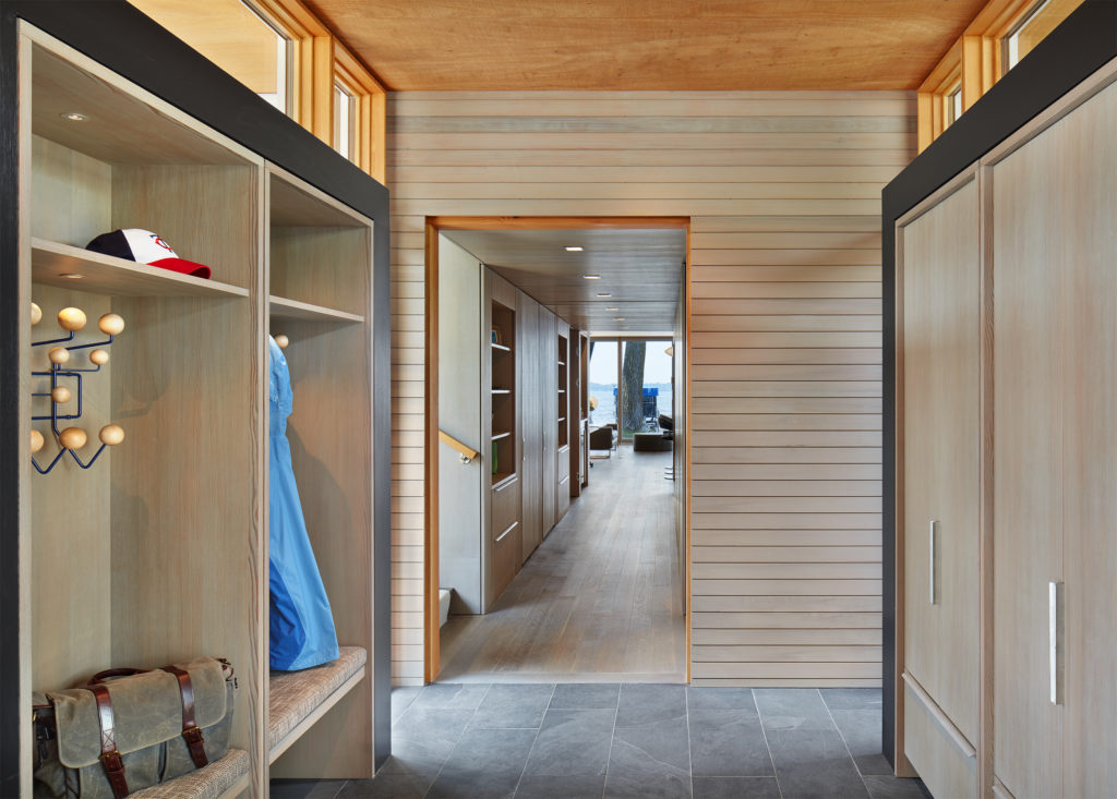 rift sawn cabinet and floor materials with clear vertical grain douglas fir and rubio monocoat finish