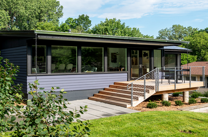 Award winning remodel with deck and cable rail